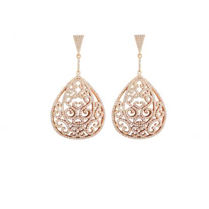 ORNATE EARRINGS ROSE GOLD VERMEIL