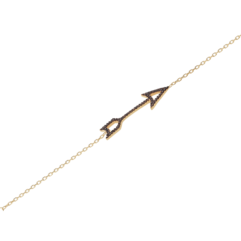 ARROW BRACELET GOLD VERMEIL WITH CHOCOLATE CZ STONES