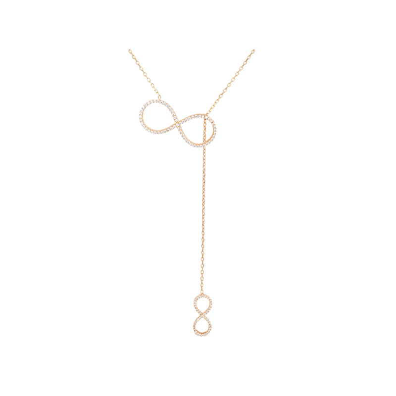 BIG INFINITY AND SMALL INFINITY ELEVATOR PENDANT ROSE GOLD VERMEIL