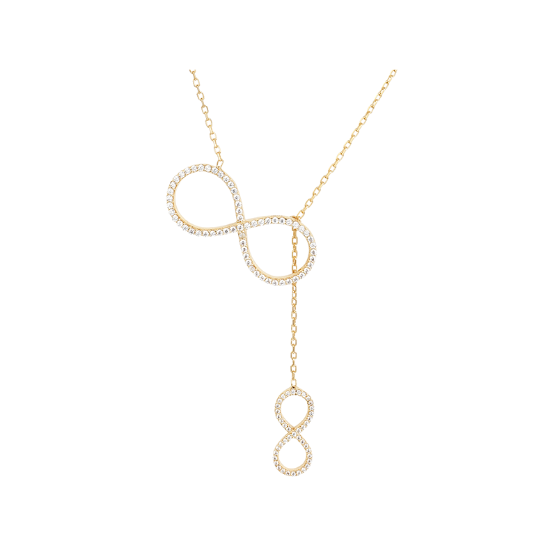 BIG INFINITY AND SMALL INFINITY ELEVATOR PENDANT GOLD VERMEIL WHITE CZ STONES