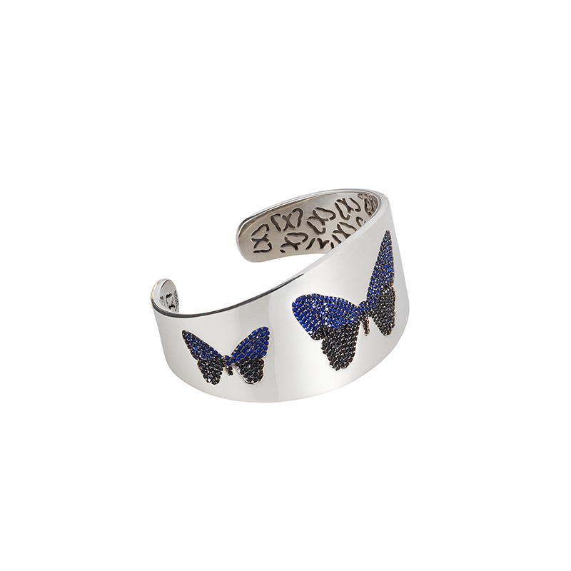 BUTTERFLY BANGLE BLACK RHODUIM SILVER BLUE AND BLACK CZ STONES