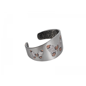 BUTTERFLY BANGLE BLACK RHODIUM SILVER WHITE AND BLACK CZ STONES