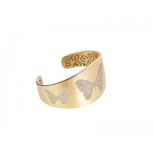 BUTTERFLY BANGLE GOLD VERMEIL WHITE CZ STONES