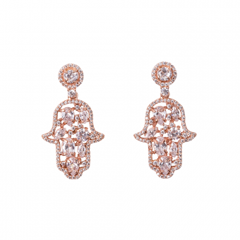CABOUCHON HAMSA EARRINGS ROSE GOLD VERMEIL WHITE CZ STONES