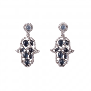CABOUCHON HAMSA EARRINGS SILVER BLUE CZ STONES