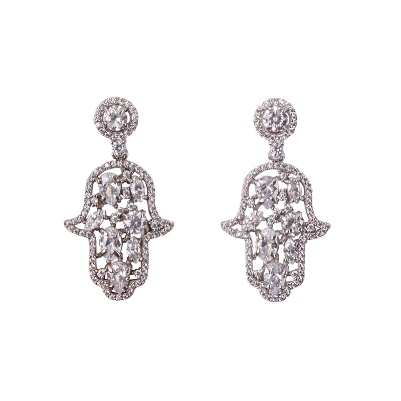 CABOUCHON HAMSA EARRINGS SILVER WHITE CZ STONES