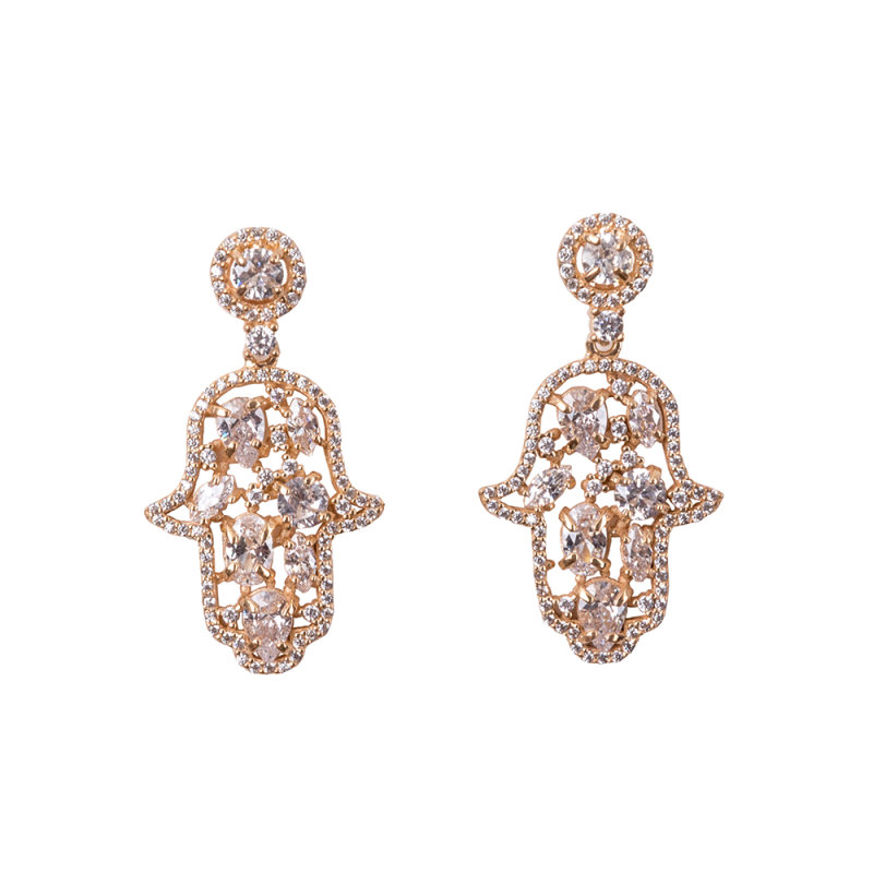 CABOUCHON HAMSA EARRINGS GOLD VERMEIL WHITE CZ STONES