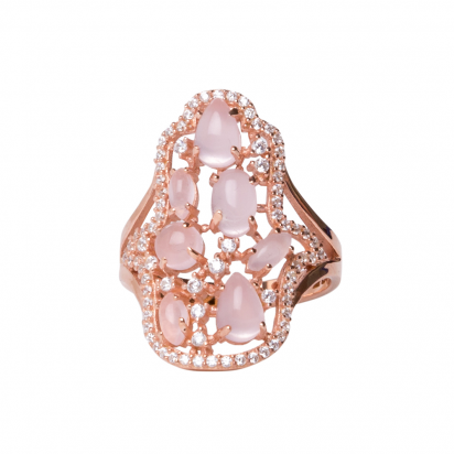 CABOUCHON HAMSA RING ROSE GOLD VERMEIL WHITE AND PINK CZ STONES