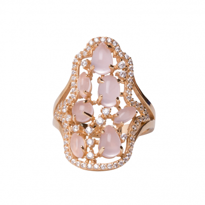 CABOUCHON HAMSA RING GOLD VERMEIL WHITE AND PINK CZ STONES