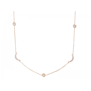 CRESCENT NECKLACE ROSE GOLD VERMEIL WITH WHITE CZ STONES