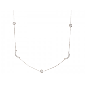 CRESCENT NECKLACE SILVER 925 WITH WHITE CZ STONES