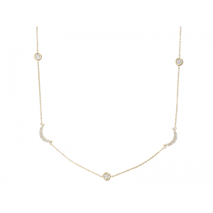 CRESCENT NECKLACE GOLD VERMEIL WITH WHITE CZ STONES