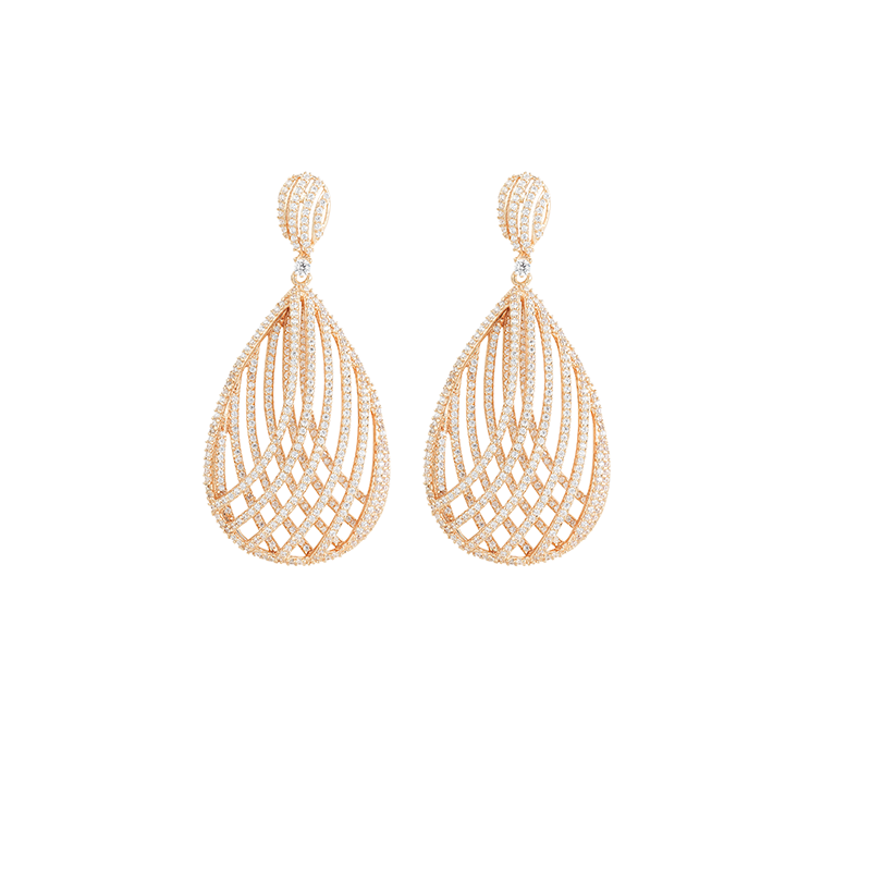 CROSSOVER MESH EARRINGS ROSE GOLD VERMEIL