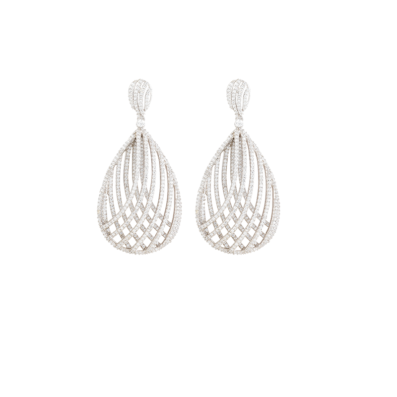 CROSSOVER MESH EARRINGS SILVER