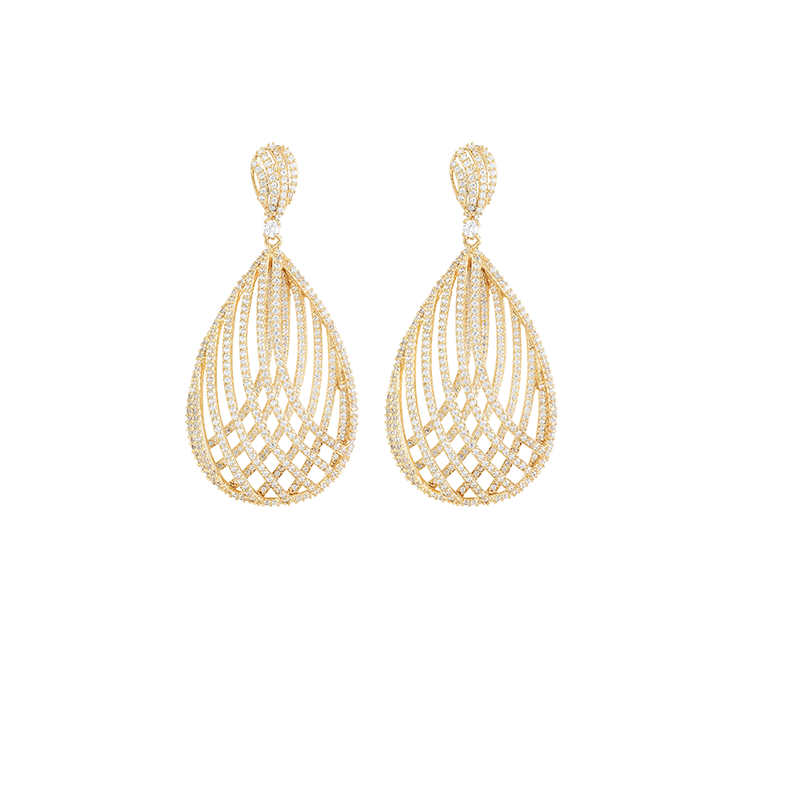 CROSSOVER MESH EARRINGS GOLD VERMEIL