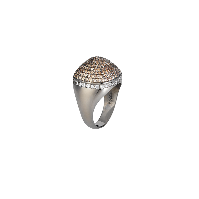 DOME COCKTAIL RING BLACK RHODIUM SILVER CHAMPAGNE CZ STONES