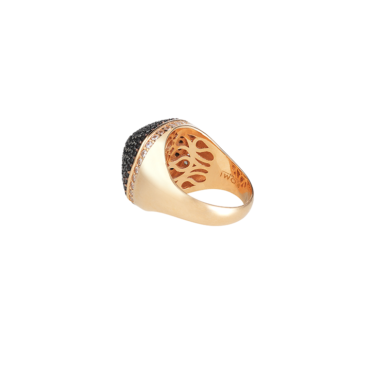 DOME COCKTAIL RING ROSE GOLD VERMEIL BLACK CZ STONES