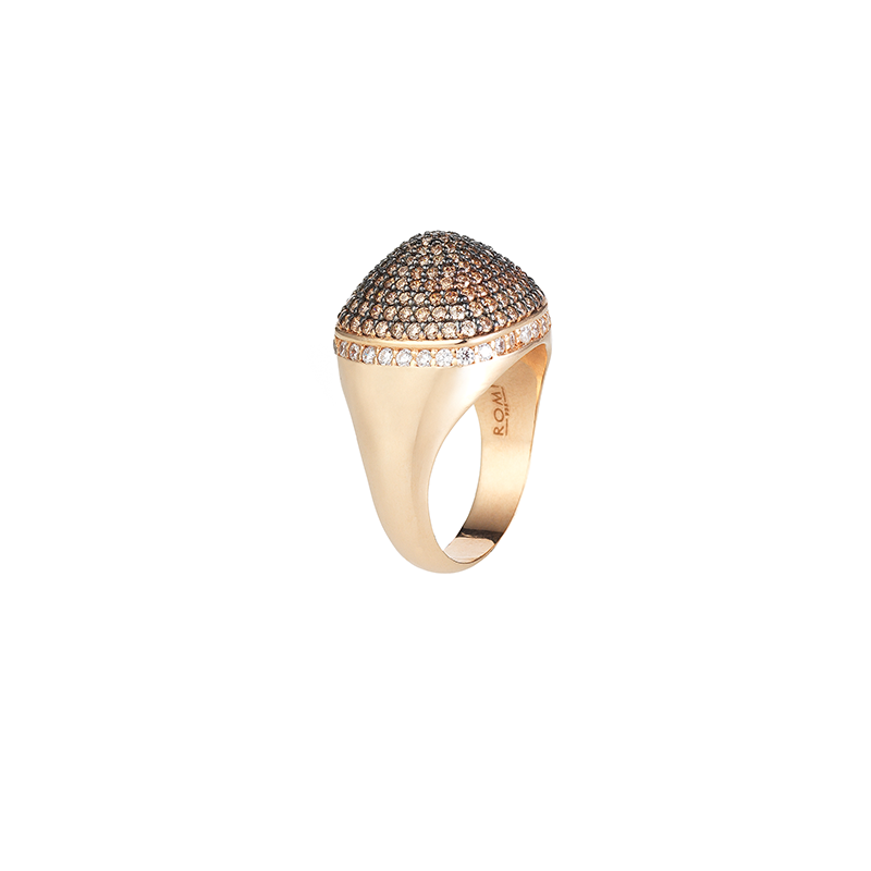 DOME COCKTAIL RING ROSE GOLD VERMEIL CHAMPAGNE CZ STONES