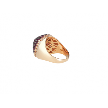 DOME COCKTAIL RING ROSE GOLD VERMEIL RUBY RED CZ STONES