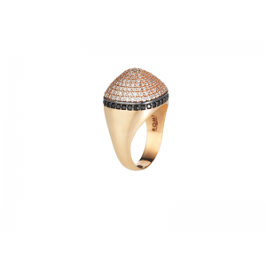DOME COCKTAIL RING ROSE GOLD VERMEIL WHITE CZ STONES