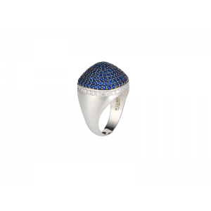 DOME COCKTAIL RING SILVER SAPPHIRE BLUE CZ STONES