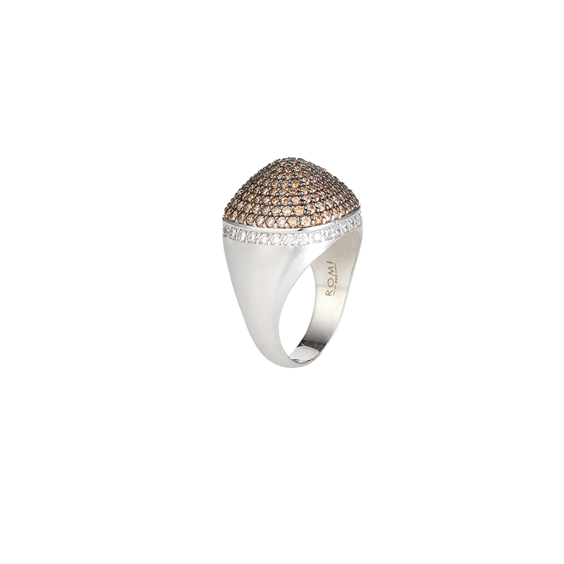 DOME COCKTAIL RING SILVER CHAMPAGNE CZ STONES