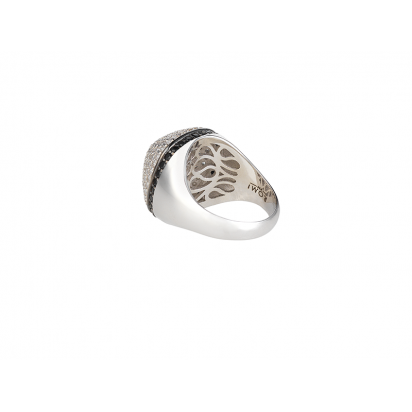 DOME COCKTAIL RING SILVER WHITE CZ STONES