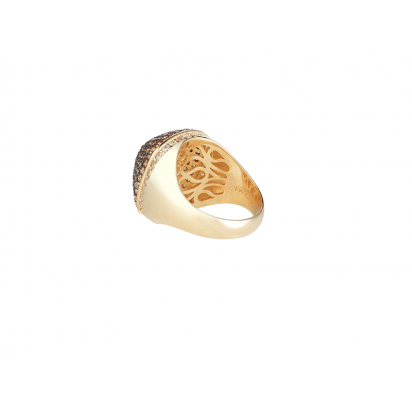 DOME COCKTAIL RING GOLD VERMEIL CHAMPAGNE CZ STONES