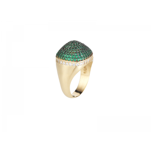 DOME COCKTAIL RING GOLD VERMEIL EMERALD GREEN CZ STONES