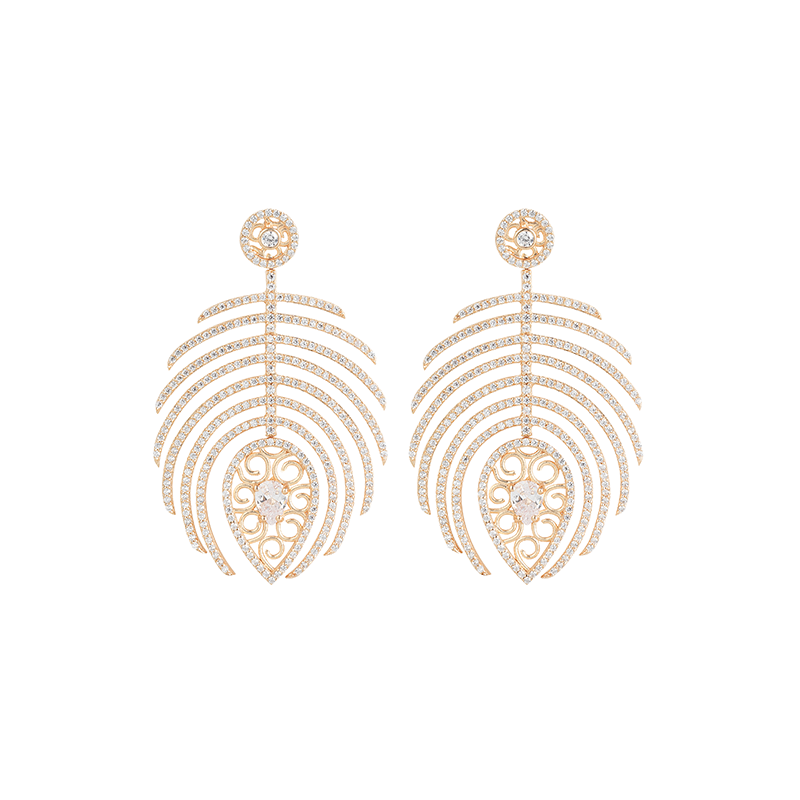 FEATHER EARRINGS ROSE GOLD VERMEIL