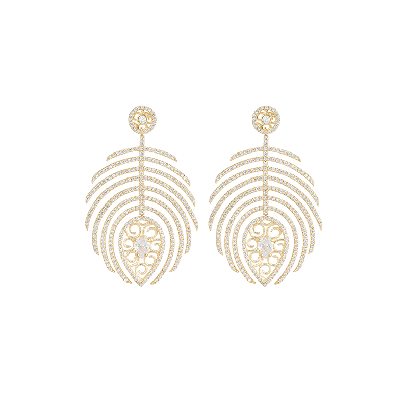 FEATHER EARRINGS GOLD VERMEIL