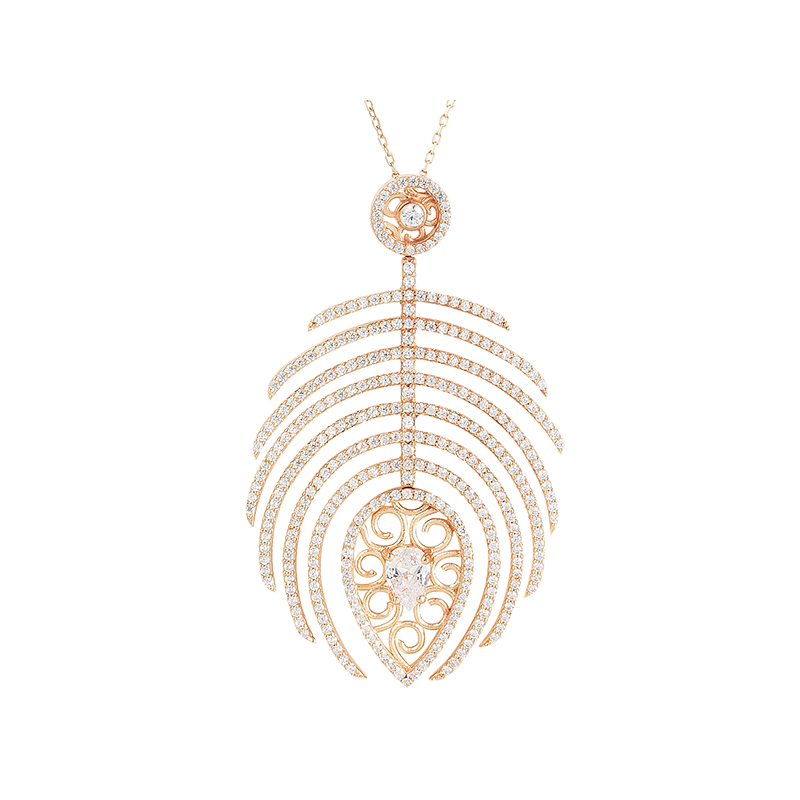 FEATHER PENDANT ROSE GOLD VERMEIL