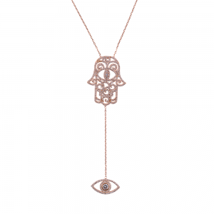 HAMSA AND EYE PENDANT ROSE GOLD VERMEIL