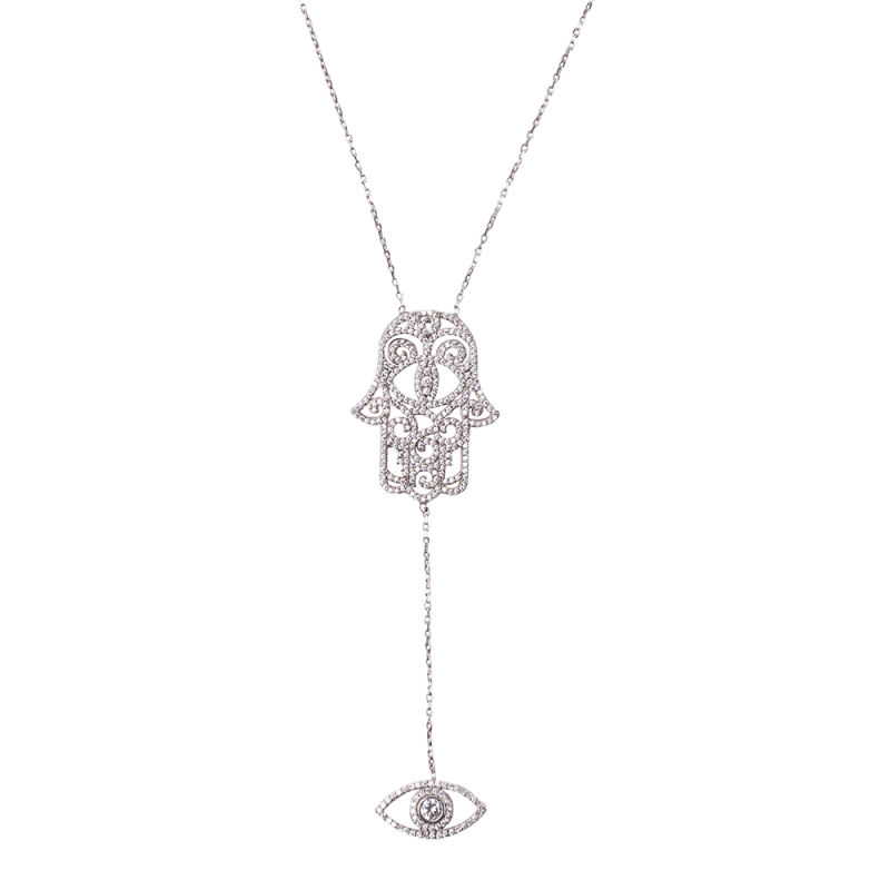 HAMSA AND EYE PENDANT SILVER