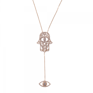 HAMSA AND EYE PENDANT GOLD VERMEIL