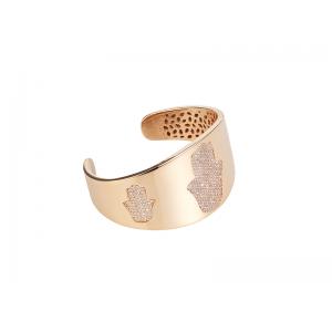 HAND / HAMSA BANGLE ROSE GOLD VERMEIL WHITE CZ STONES