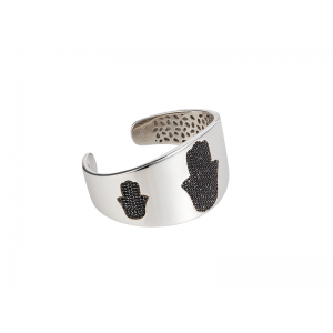 HAND / HAMSA BANGLE SILVER BLACK CZ STONES