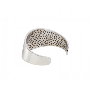 HAND / HAMSA BANGLE SILVER WHITE CZ STONES