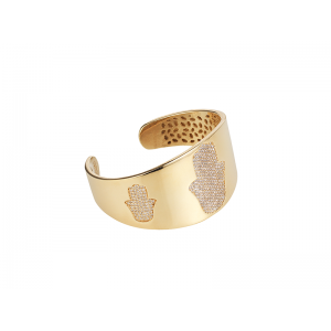 HAND / HAMSA BANGLE GOLD VERMEIL WHITE CZ STONES