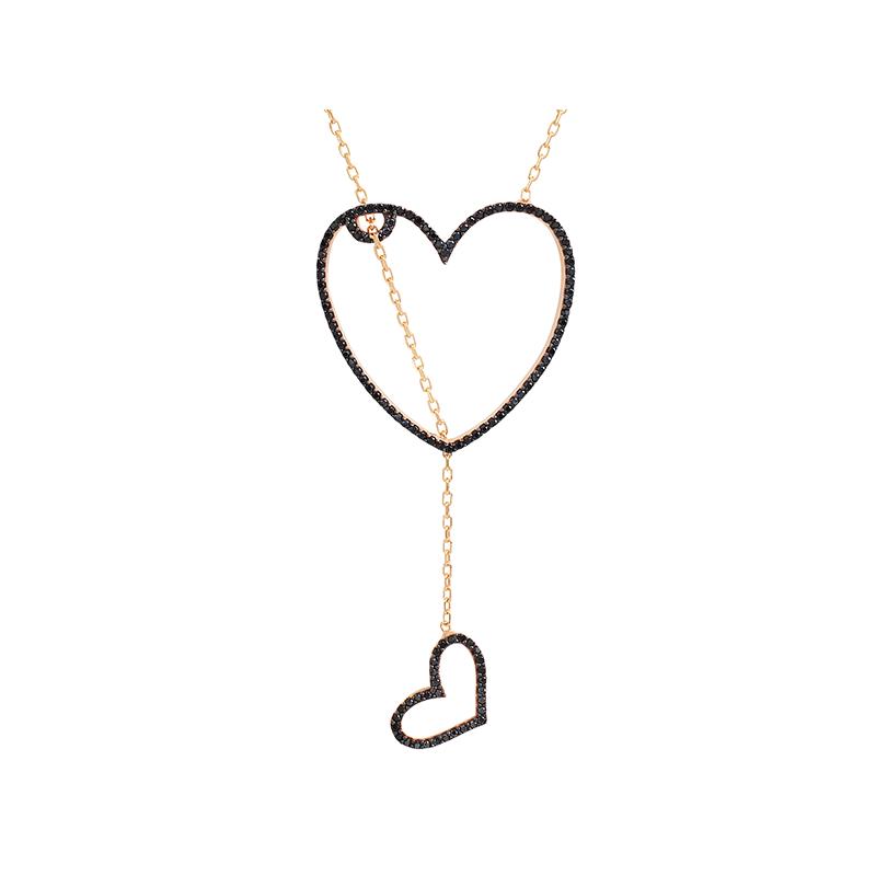 HEART 2 HEART ELEVATOR PENDANT ROSE GOLD VERMEIL BLACK CZ STONES