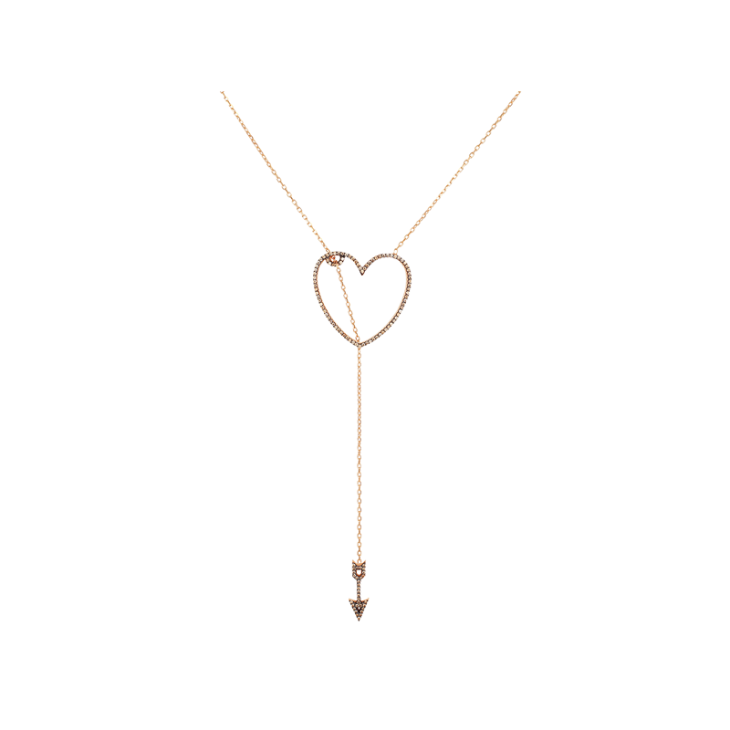 HEART AND ARROW ELEVATOR PENDANT ROSE GOLD VERMEIL CHAMPAGNE CZ STONES