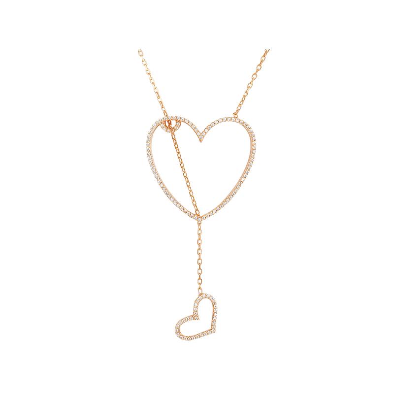 HEART 2 HEART ELEVATOR PENDANT ROSE GOLD VERMEIL WHITE CZ STONES