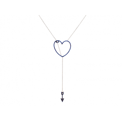 HEART AND ARROW ELEVATOR PENDANT SILVER BLUE CZ STONES