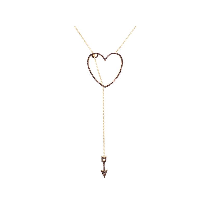 HEART 2 HEART ELEVATOR PENDANT GOLD VERMEIL CHOCOLATE CZ STONES