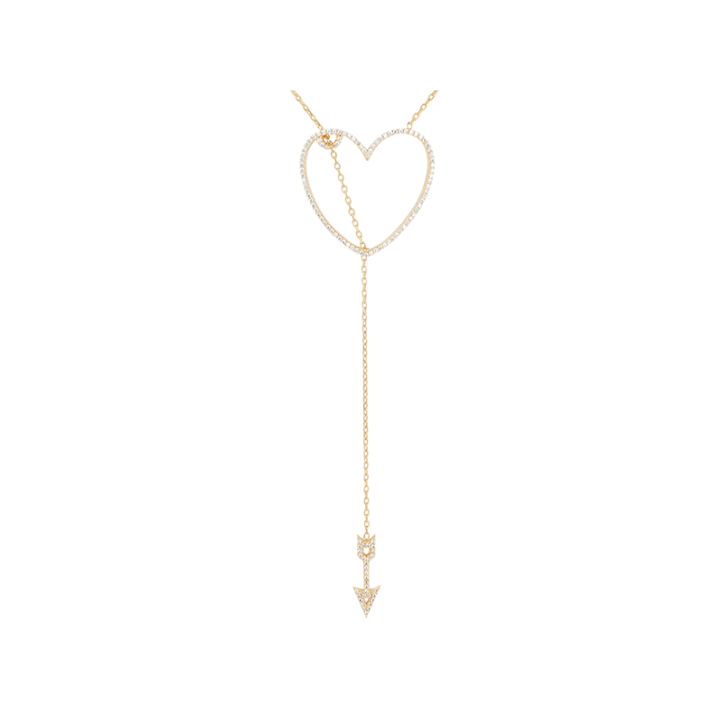 HEART AND ARROW ELEVATOR PENDANT ROSE GOLD VERMEIL WHITE CZ STONES