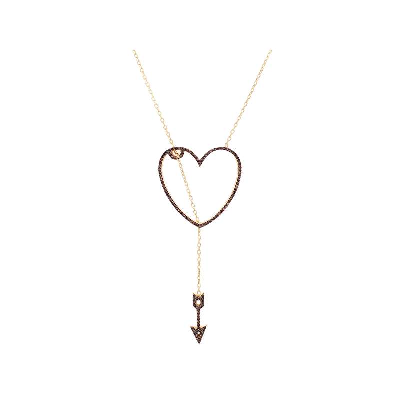 HEART AND ARROW ELEVATOR PENDANT GOLD VERMEIL CHOCOLATE CZ STONES