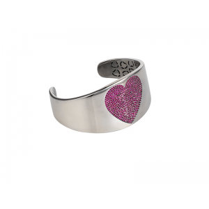 HEART BANGLE SILVER RUBY CZ STONES