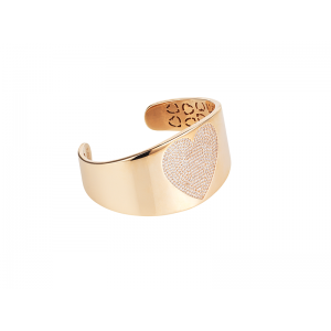 HEART BANGLE ROSE GOLD VERMEIL WHITE CZ STONES