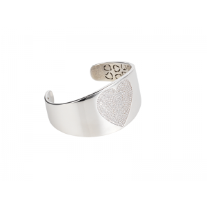HEART BANGLE SILVER WHITE CZ STONES