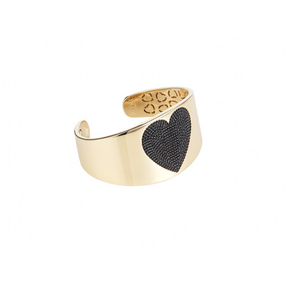 HEART BANGLE GOLD VERMEIL BLACK CZ STONES